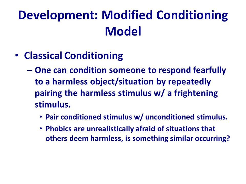 Development: Modified Conditioning Model