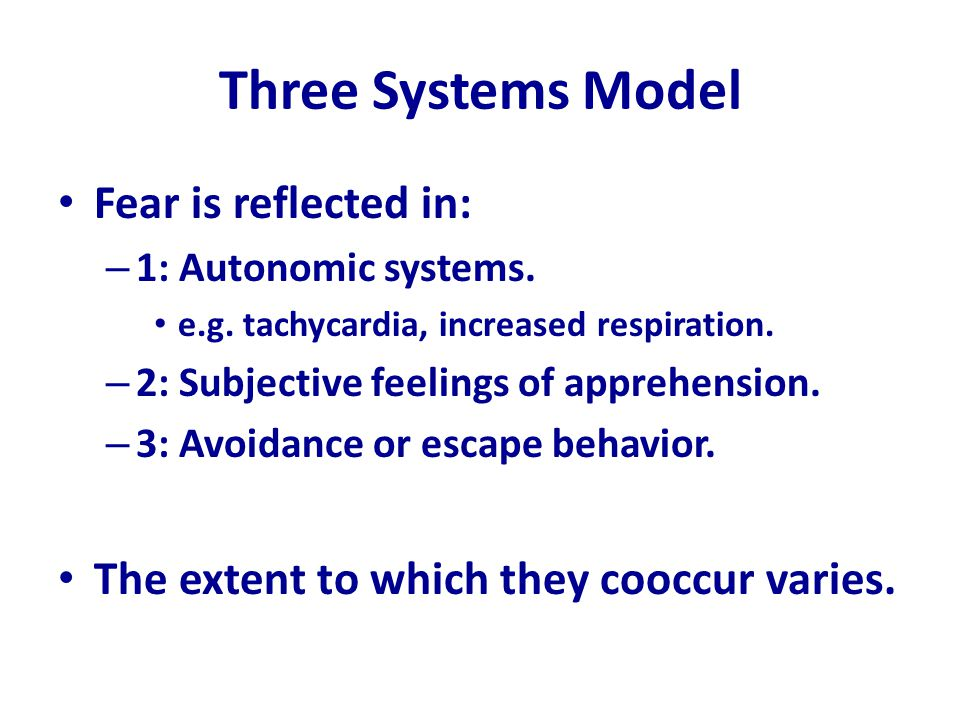 Three Systems Model Fear is reflected in:
