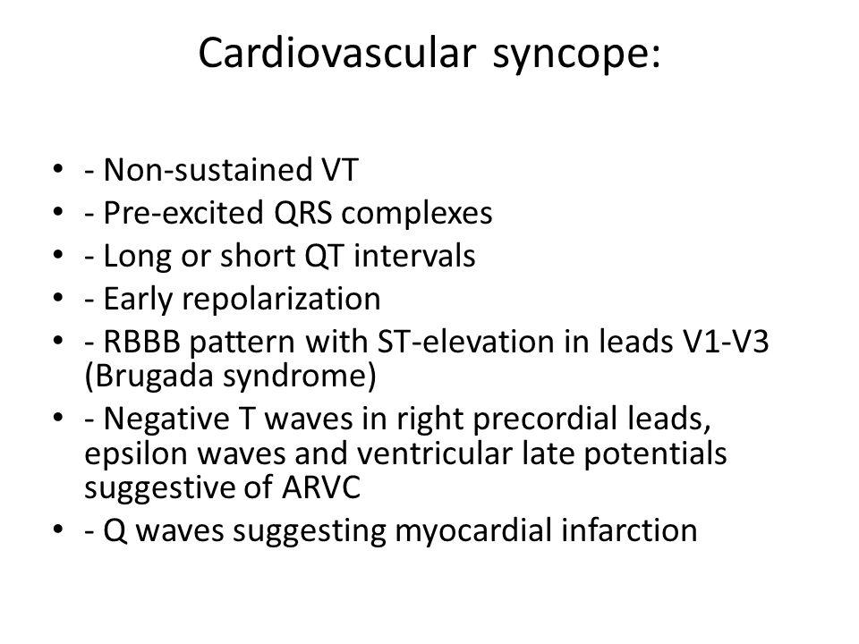 Cardiovascular syncope: