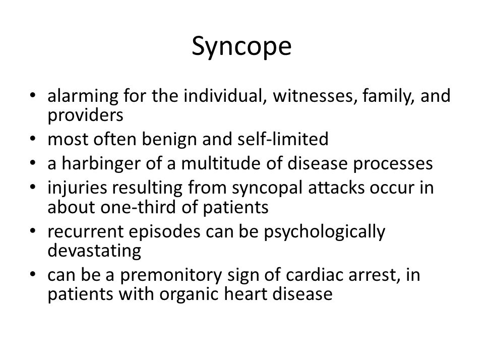 Syncope alarming for the individual, witnesses, family, and providers