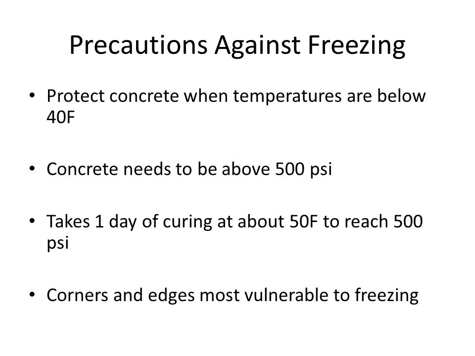 Precautions Against Freezing