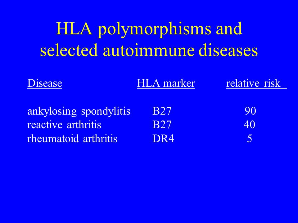 HLA polymorphisms and selected autoimmune diseases