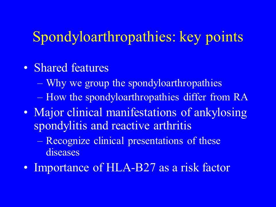 Spondyloarthropathies: key points