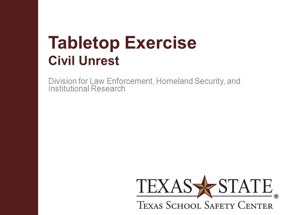 Tabletop Exercise Civil Unrest