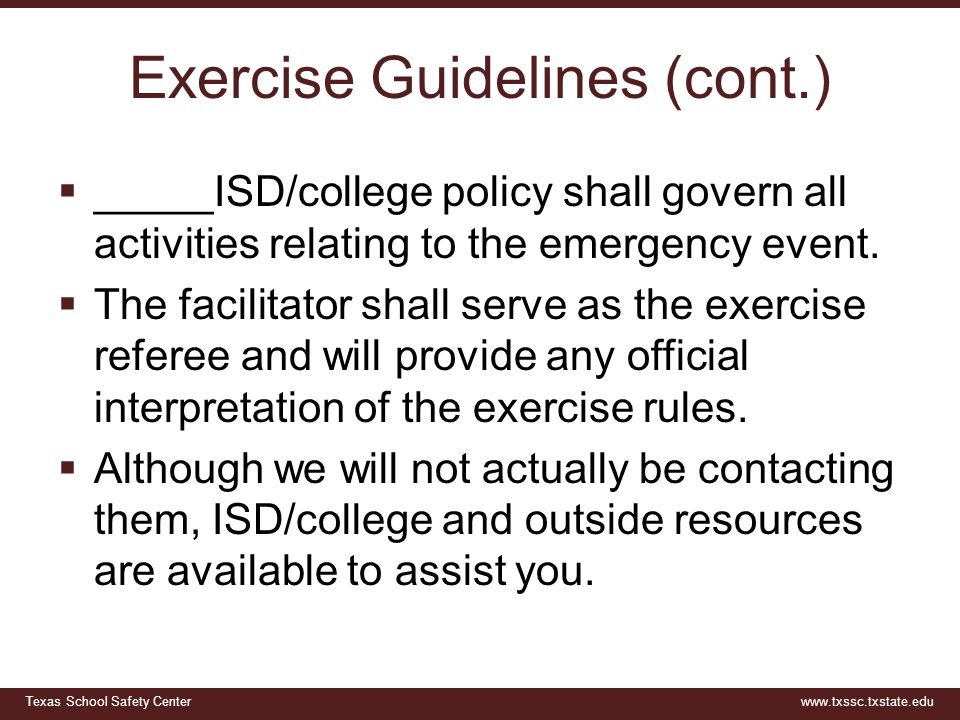 Exercise Guidelines (cont.)