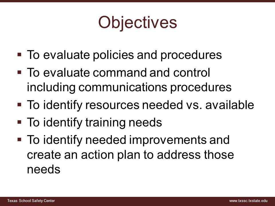Objectives To evaluate policies and procedures