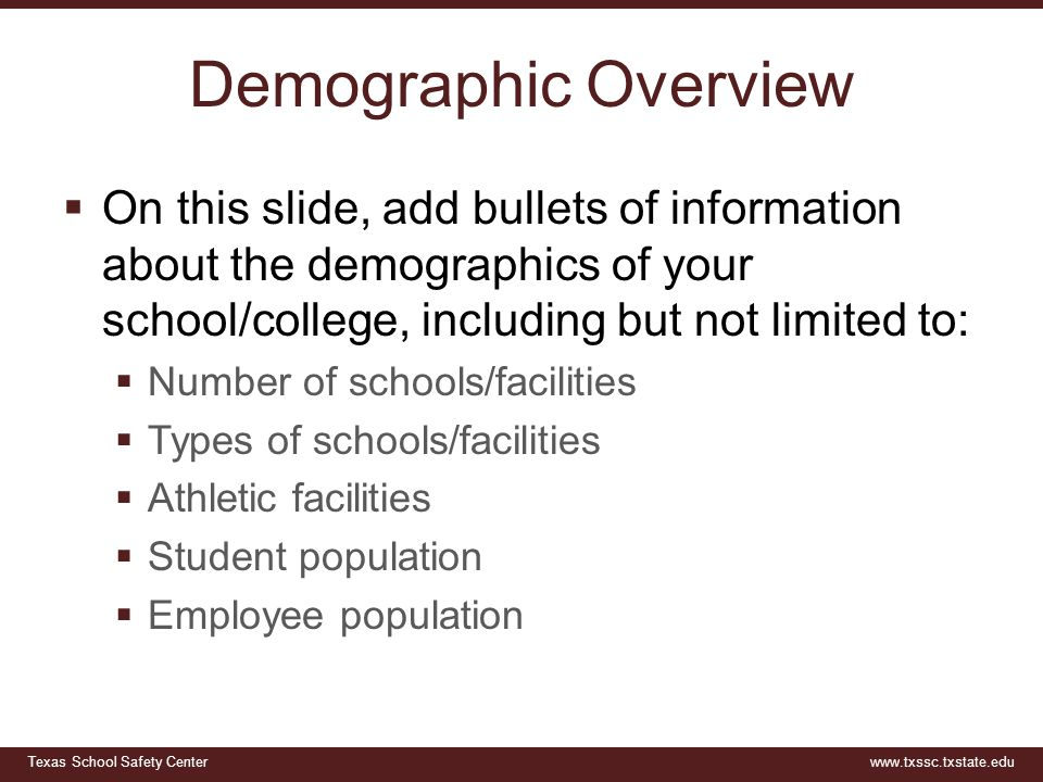 Demographic Overview On this slide, add bullets of information about the demographics of your school/college, including but not limited to: