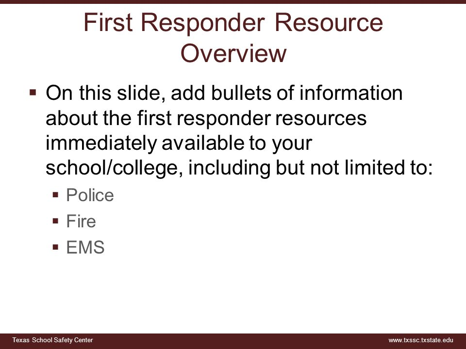 First Responder Resource Overview
