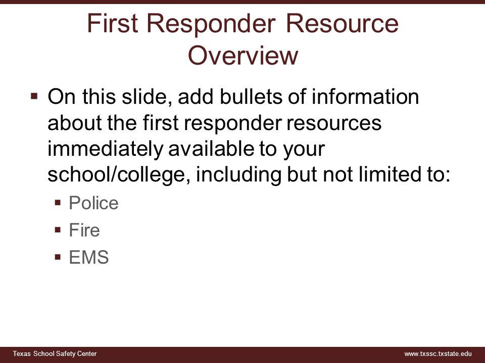 First Responder Resource Overview