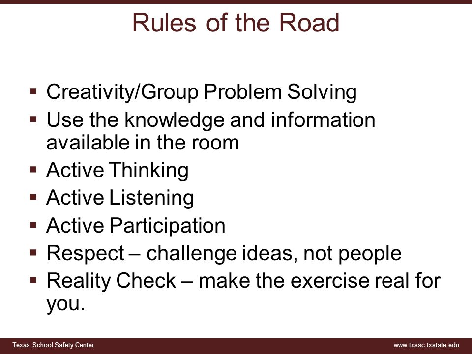 Rules of the Road Creativity/Group Problem Solving