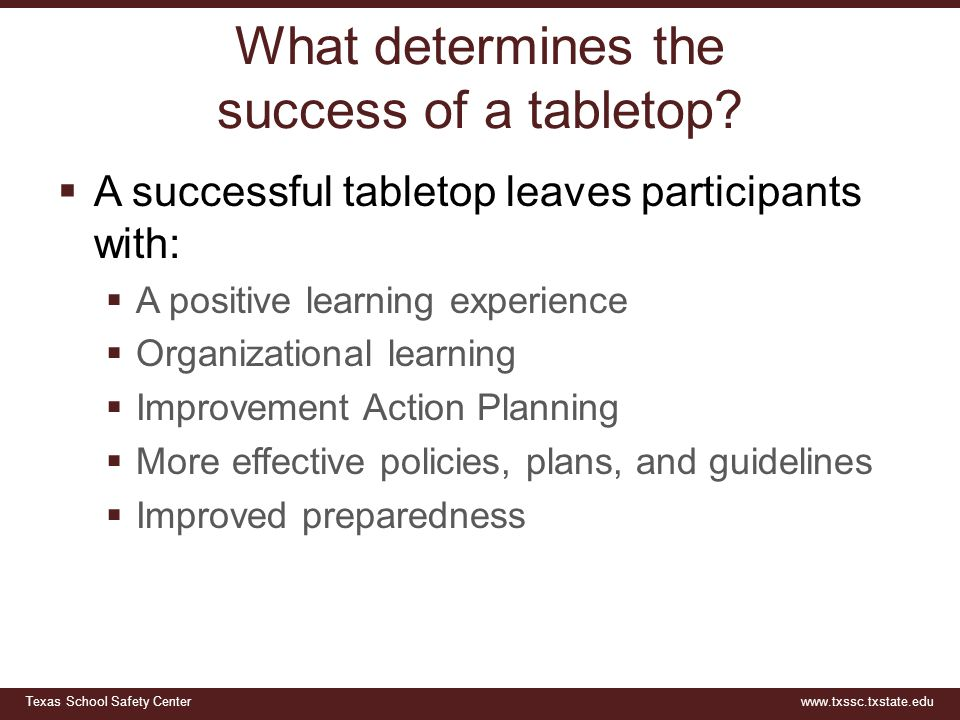 What determines the success of a tabletop