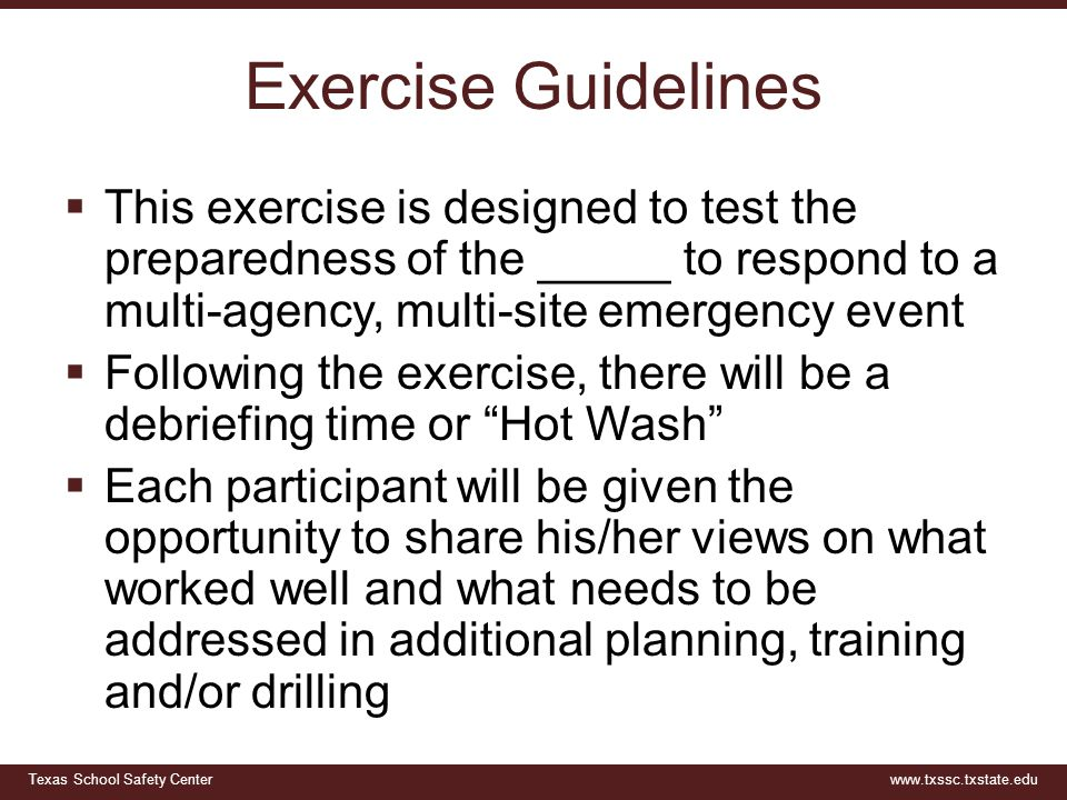 Exercise Guidelines This exercise is designed to test the preparedness of the _____ to respond to a multi-agency, multi-site emergency event.