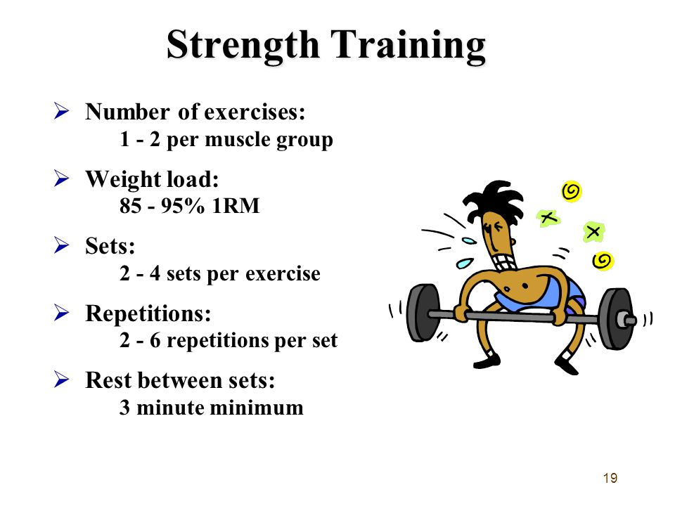 Strength Training Number of exercises: 1 - 2 per muscle group