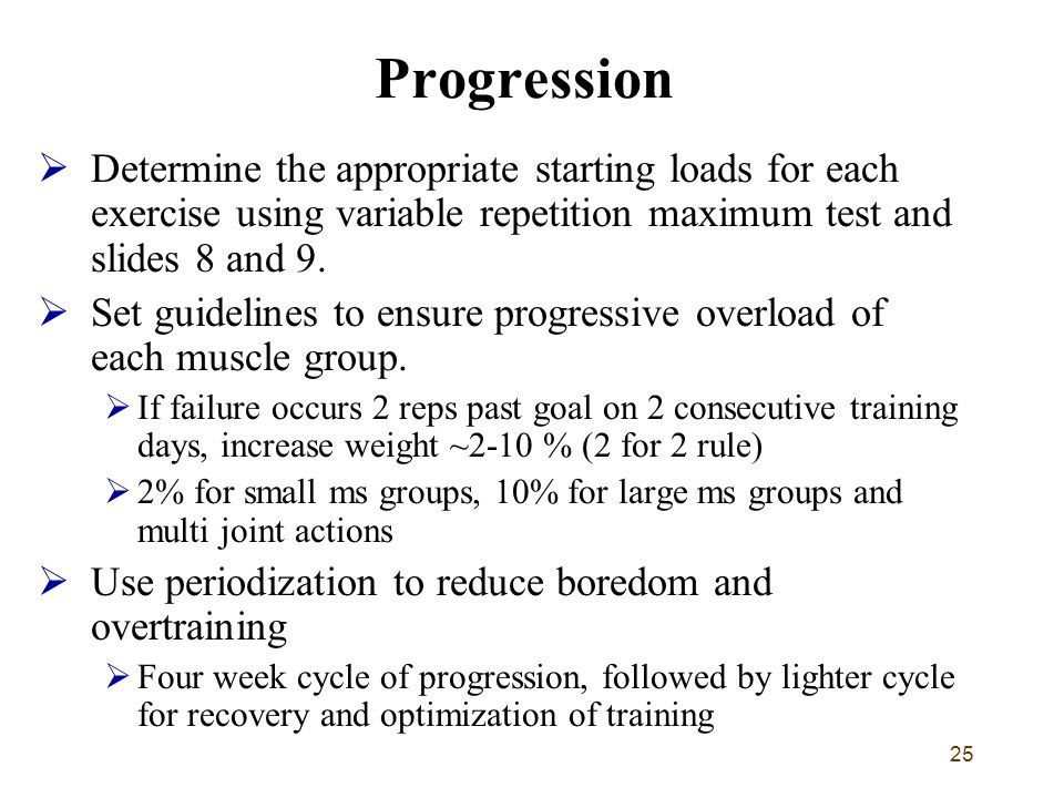 Progression Determine the appropriate starting loads for each exercise using variable repetition maximum test and slides 8 and 9.