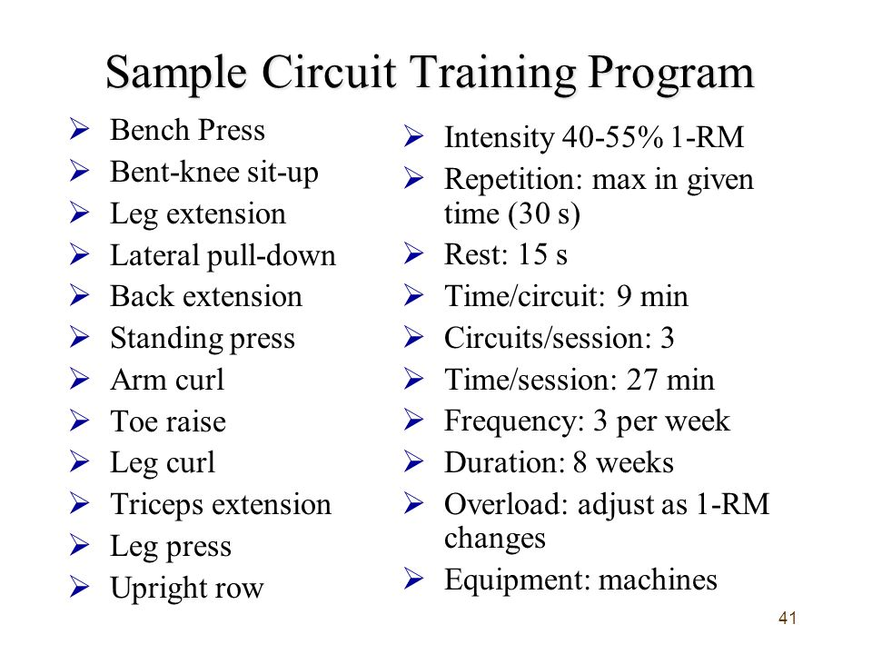 Sample Circuit Training Program