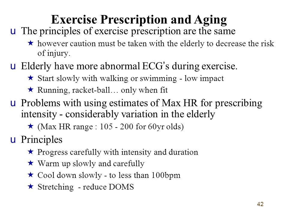 Exercise Prescription and Aging