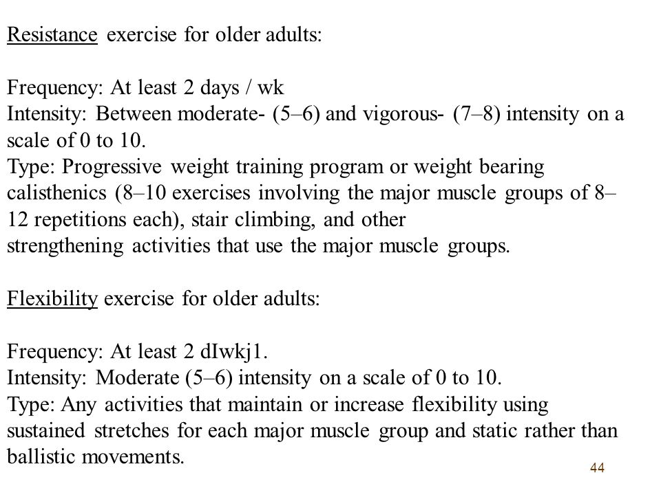 Resistance exercise for older adults:
