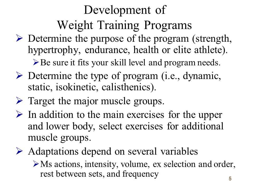Development of Weight Training Programs