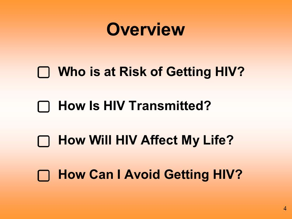 Overview Who is at Risk of Getting HIV How Is HIV Transmitted