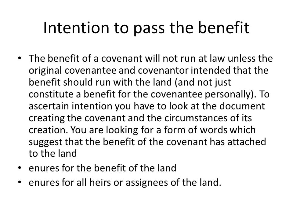 Intention to pass the benefit