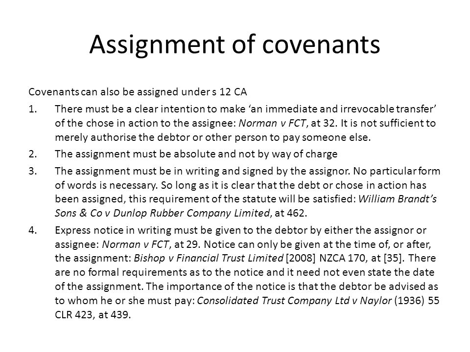 Assignment of covenants