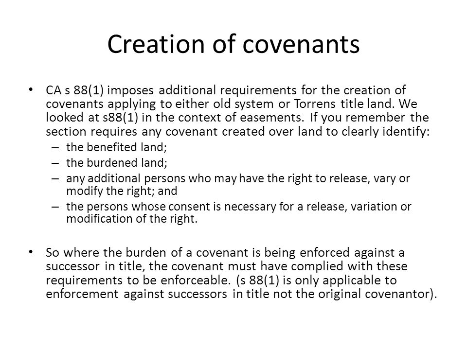 Creation of covenants