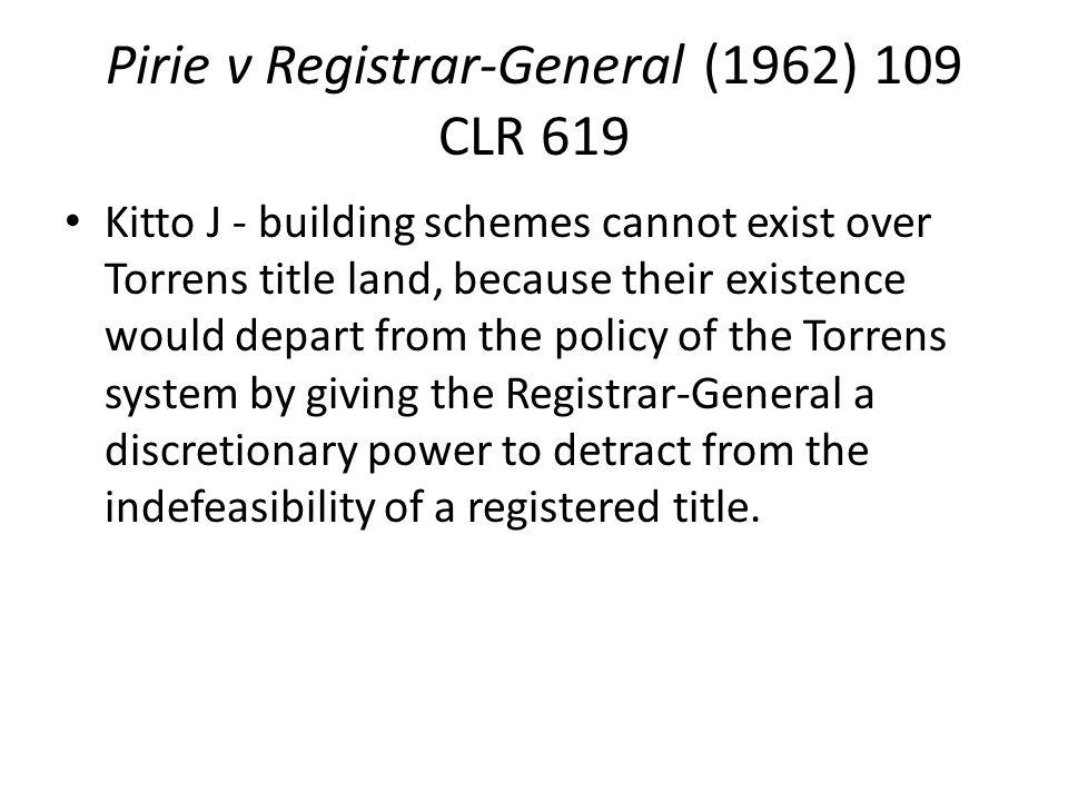 Pirie v Registrar-General (1962) 109 CLR 619