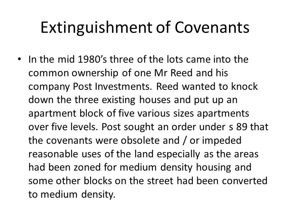 Extinguishment of Covenants