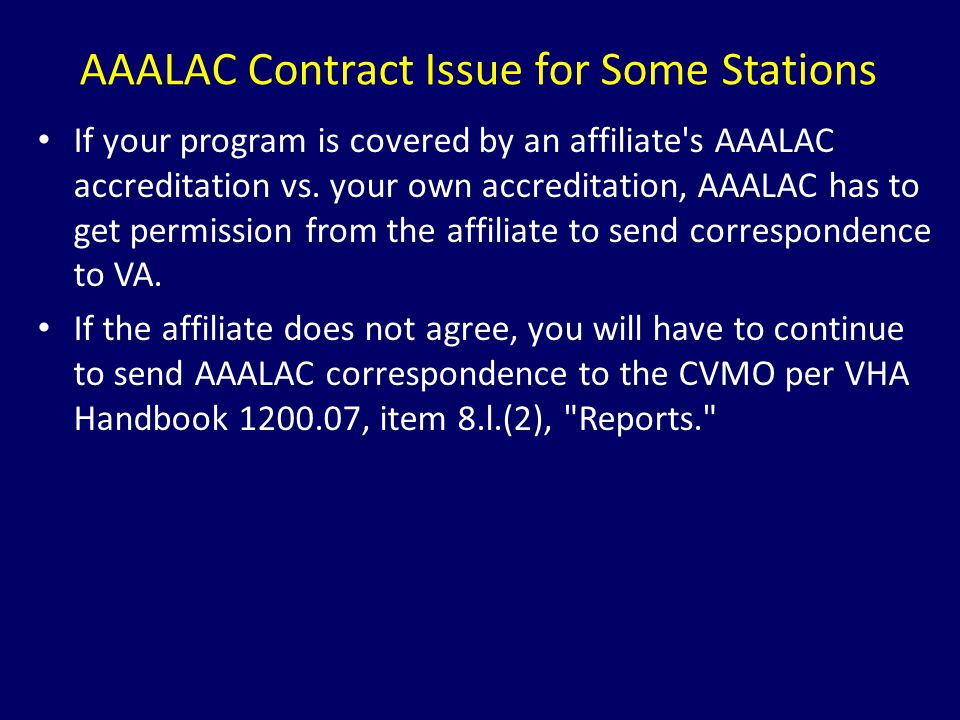 AAALAC Contract Issue for Some Stations