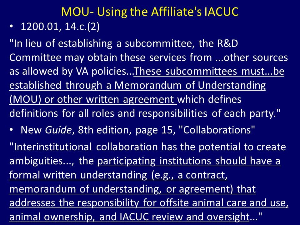 MOU- Using the Affiliate s IACUC