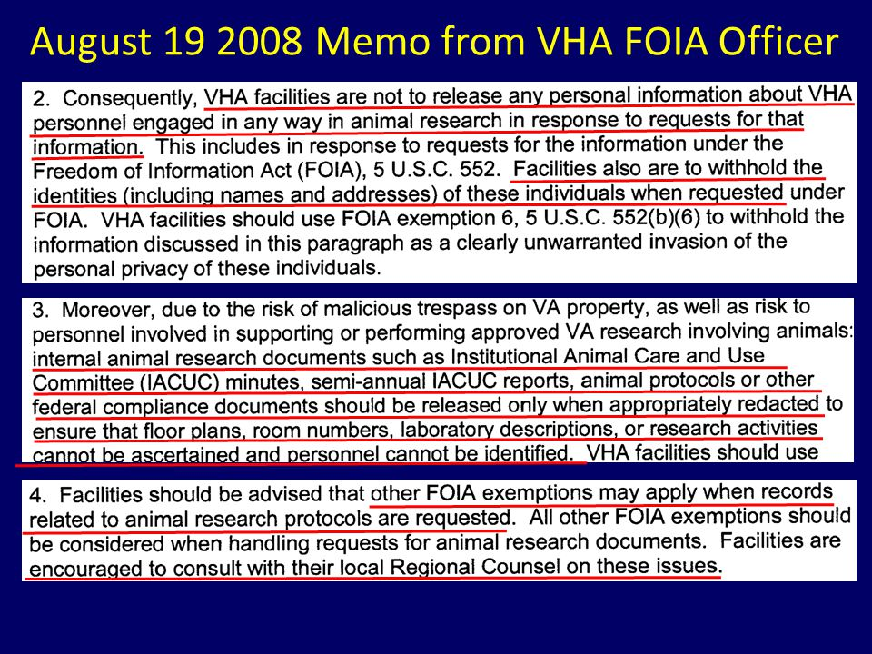 August 19 2008 Memo from VHA FOIA Officer