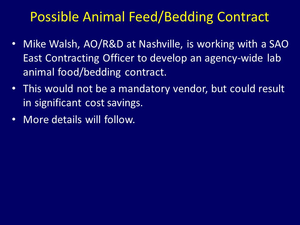 Possible Animal Feed/Bedding Contract