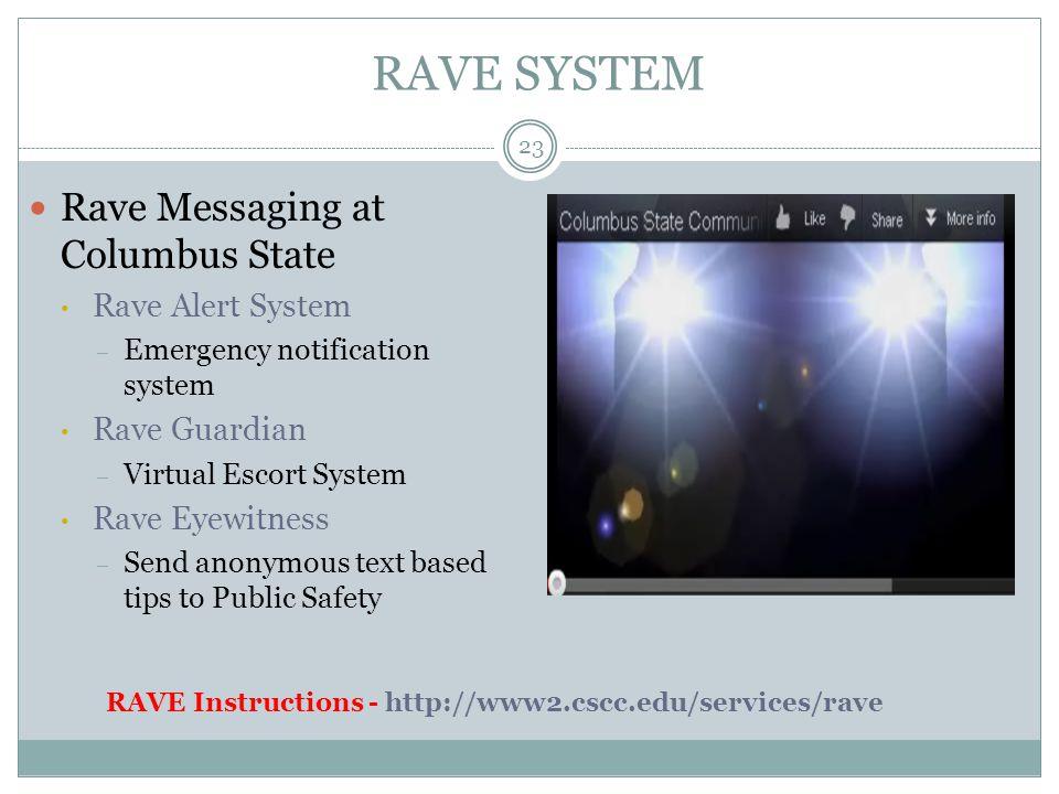 RAVE Instructions - http://www2.cscc.edu/services/rave