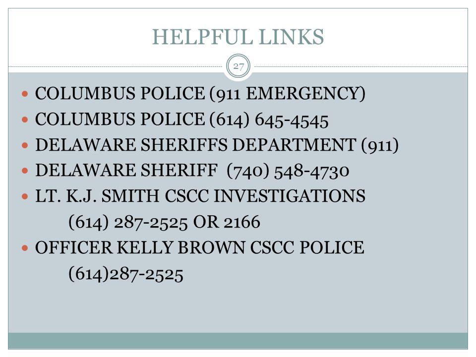 HELPFUL LINKS COLUMBUS POLICE (911 EMERGENCY)