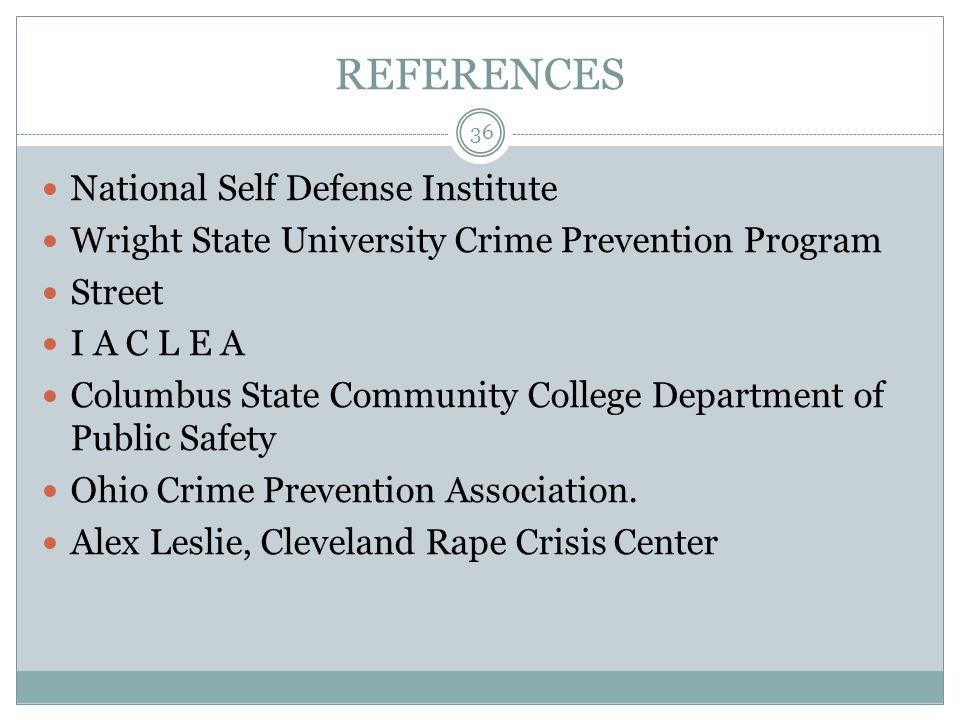 REFERENCES National Self Defense Institute