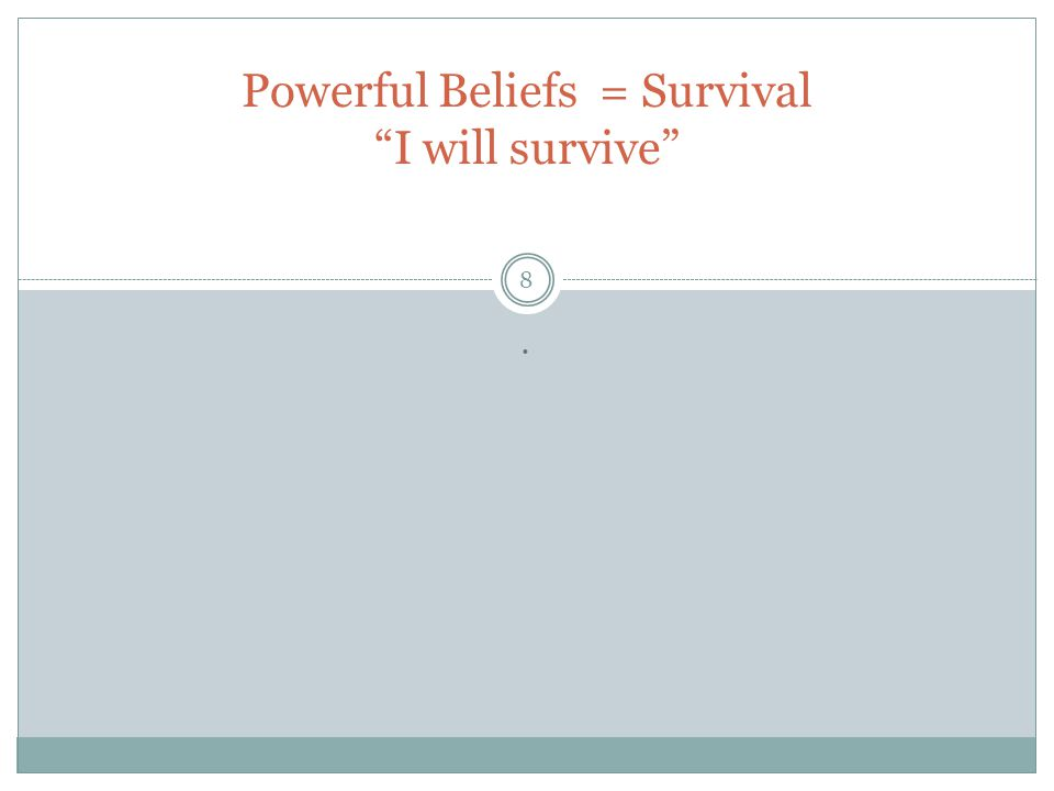 Powerful Beliefs = Survival I will survive