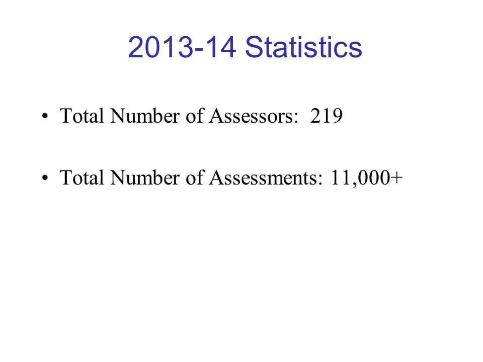 2013-14 Statistics Total Number of Assessors: 219