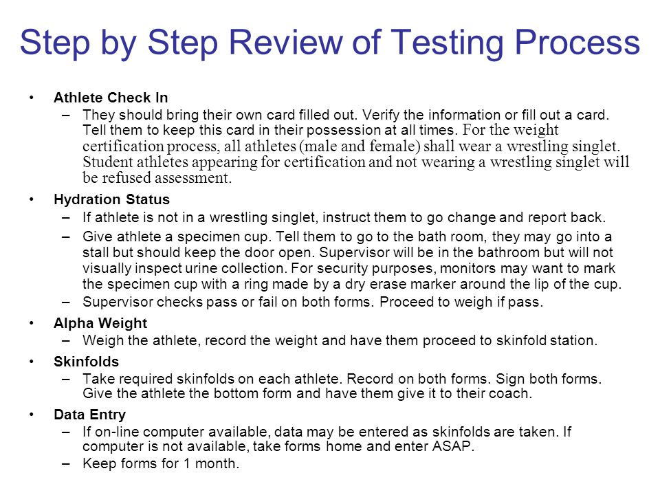 Step by Step Review of Testing Process