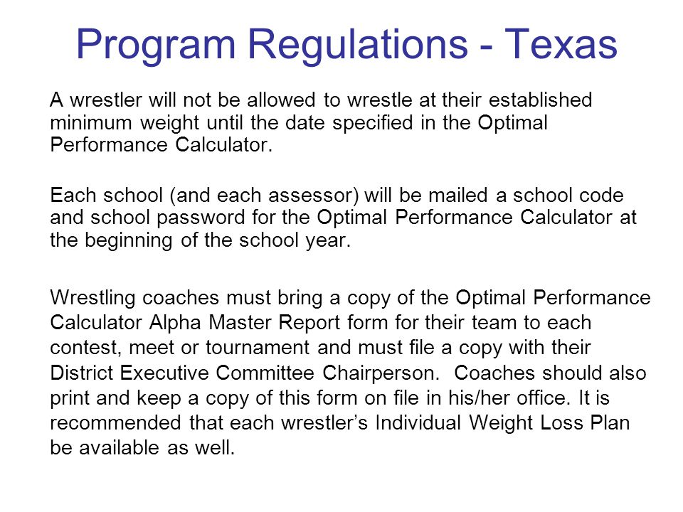 Program Regulations - Texas