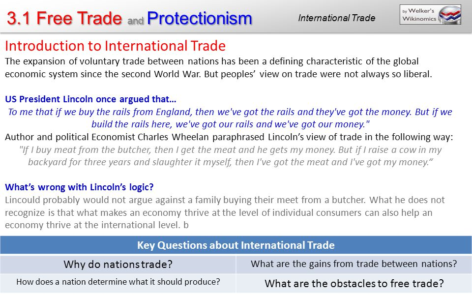 Key Questions about International Trade