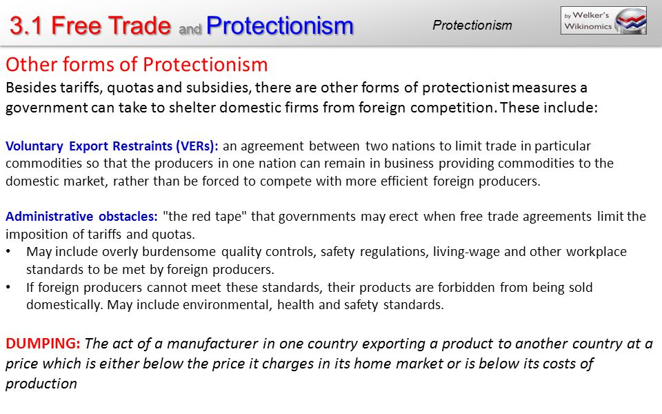 Other forms of Protectionism