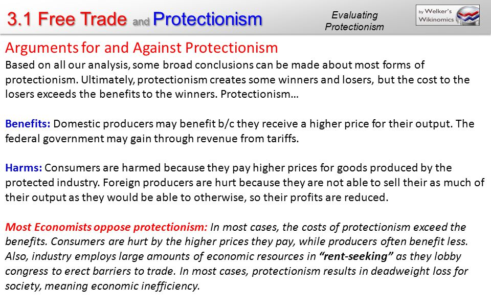Evaluating Protectionism