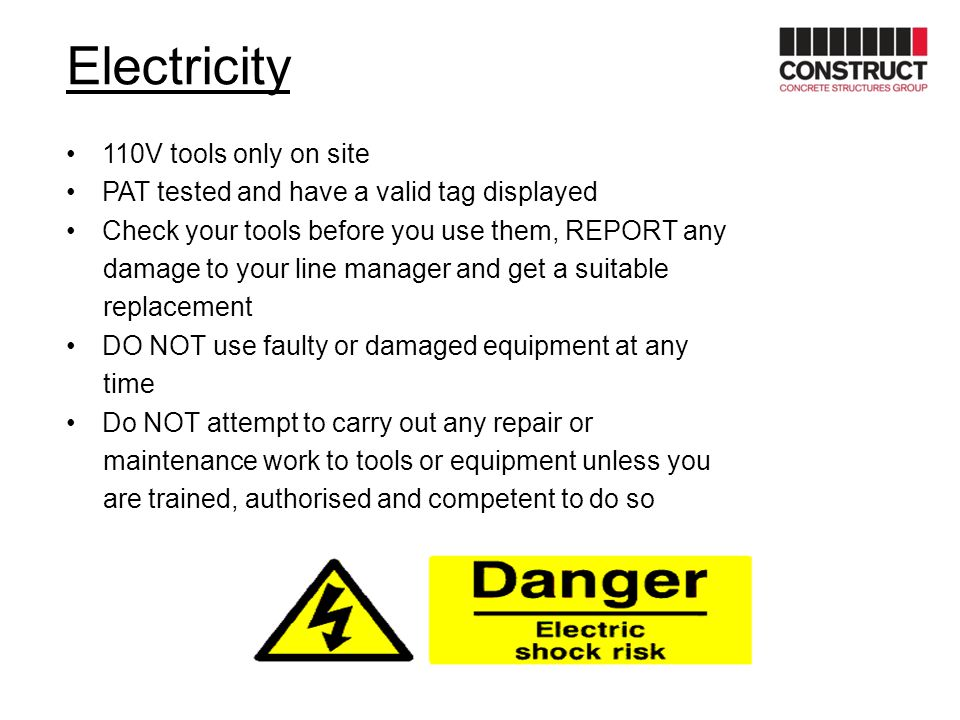 Electricity 110V tools only on site