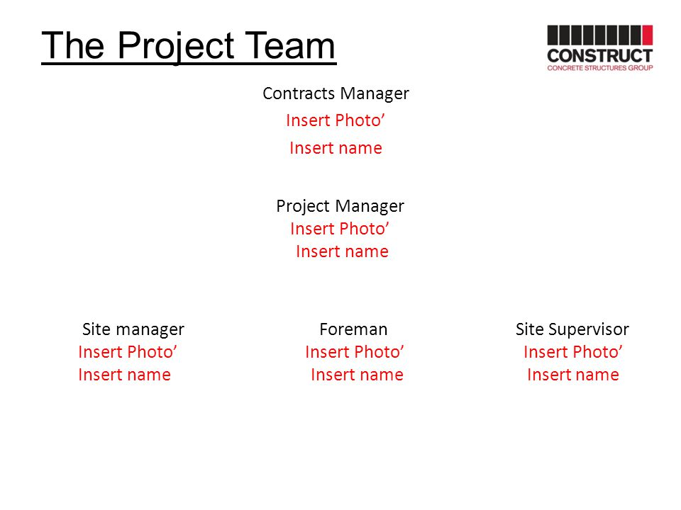 The Project Team Contracts Manager Insert Photo' Insert name