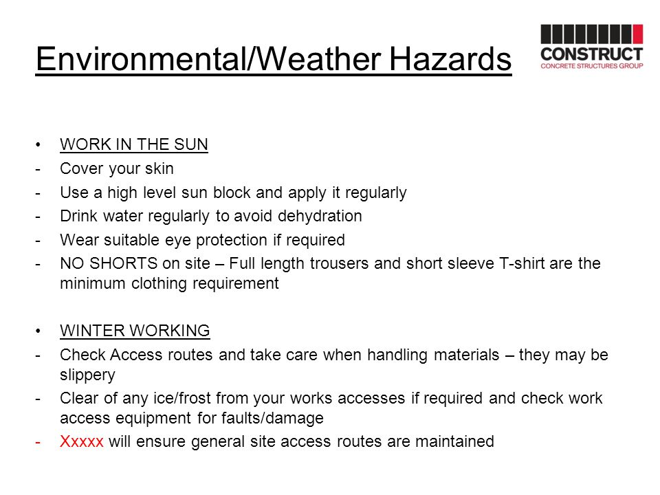 Environmental/Weather Hazards