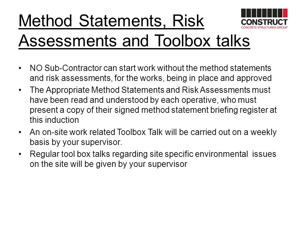 Method Statements, Risk Assessments and Toolbox talks