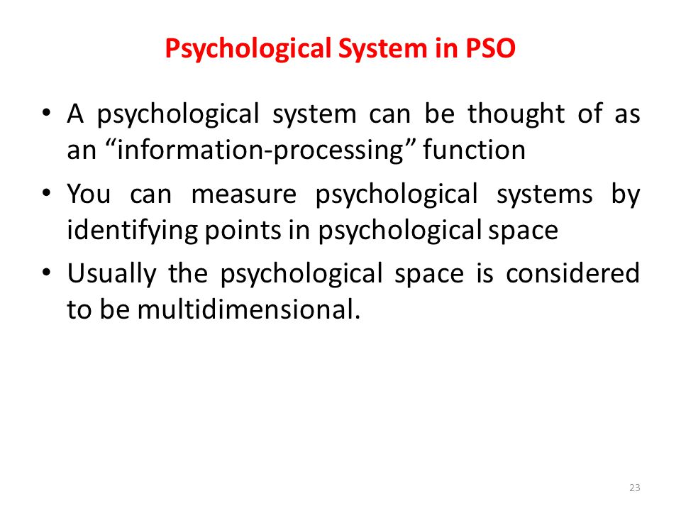 Psychological System in PSO