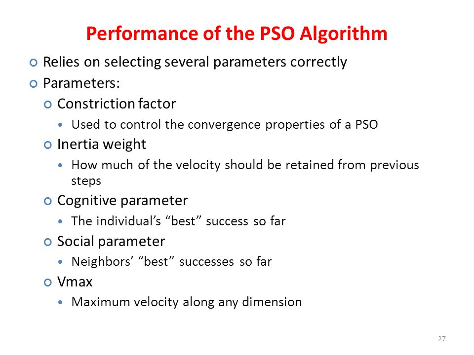 Performance of the PSO Algorithm