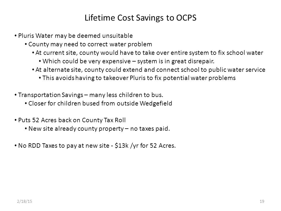 Lifetime Cost Savings to OCPS