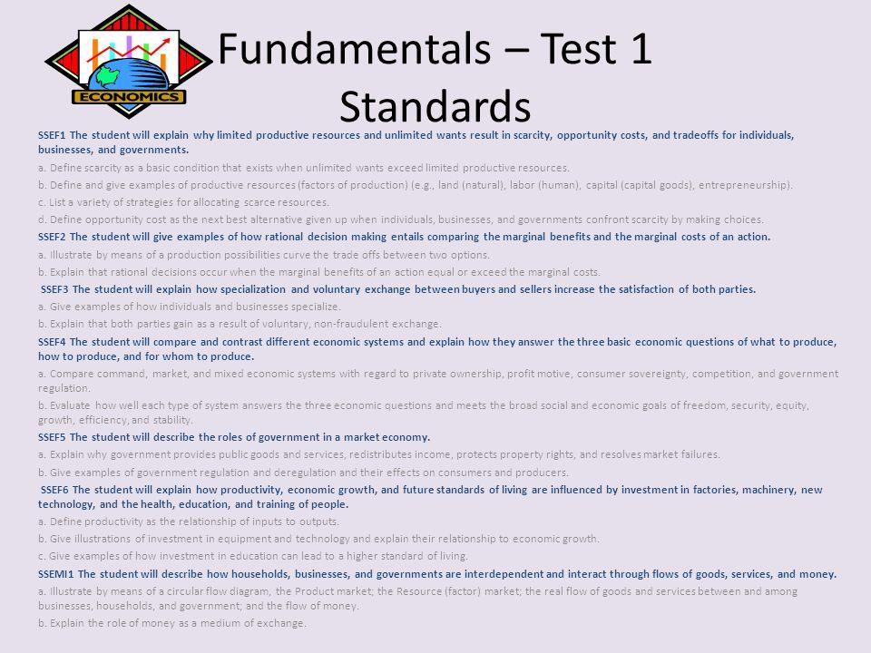 Fundamentals – Test 1 Standards